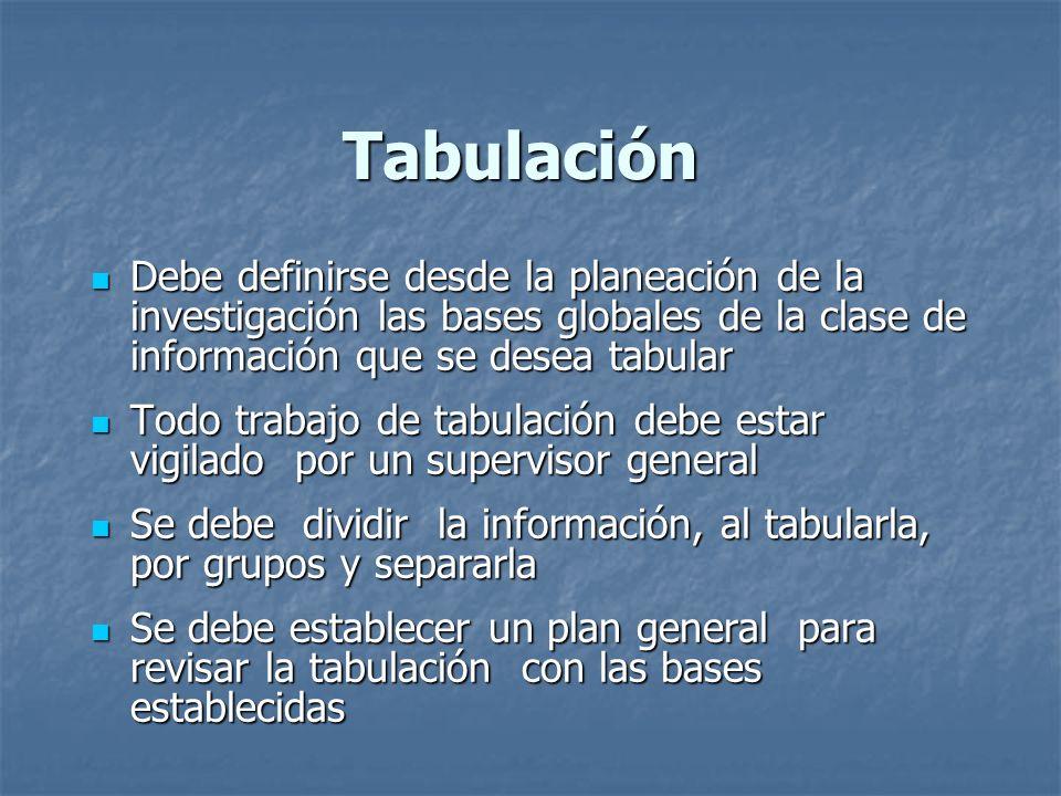 Tabulación Debe definirse desde la planeación de la investigación las bases globales de la clase de información que se desea tabular.