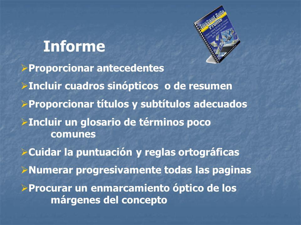 Informe Proporcionar antecedentes