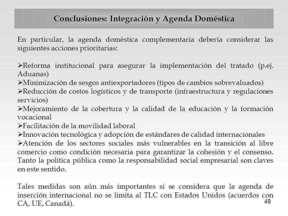 Conclusiones: Integración y Agenda Doméstica