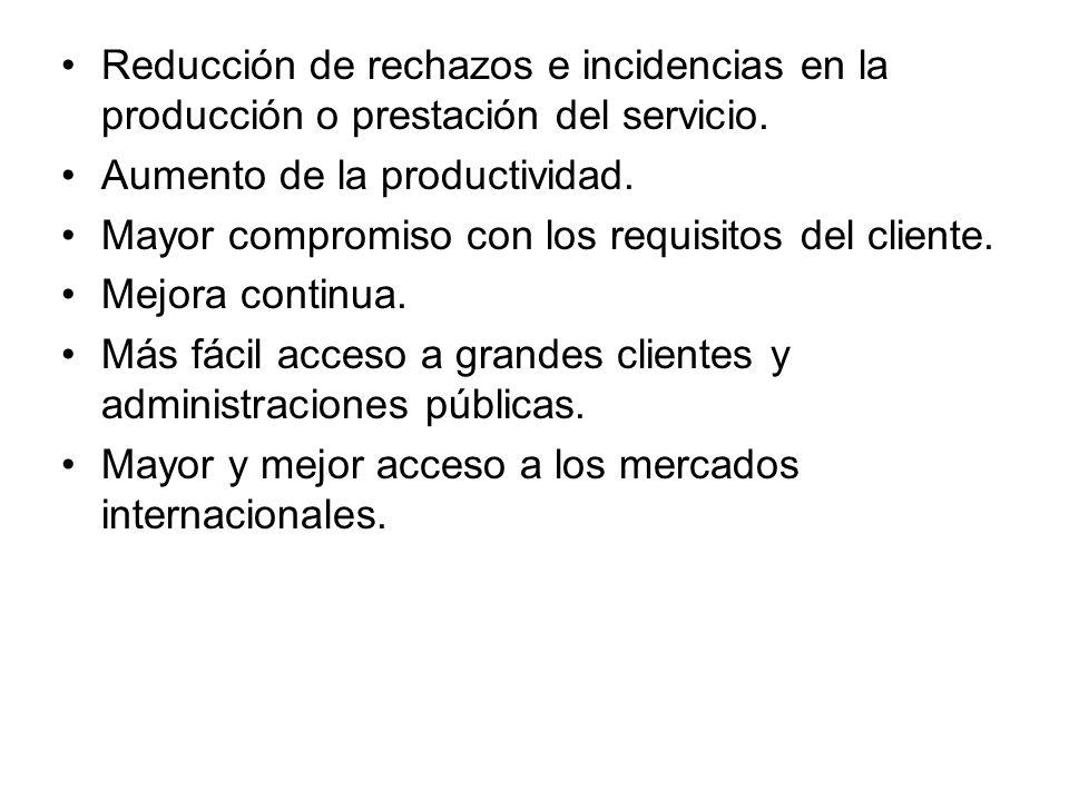 Reducción de rechazos e incidencias en la producción o prestación del servicio.