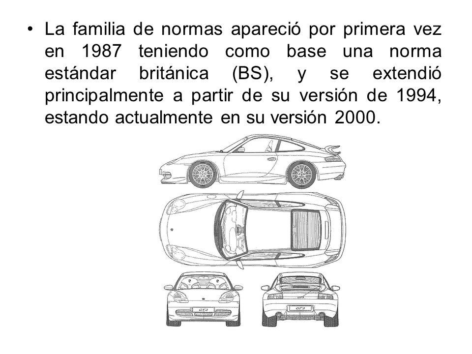 La familia de normas apareció por primera vez en 1987 teniendo como base una norma estándar británica (BS), y se extendió principalmente a partir de su versión de 1994, estando actualmente en su versión 2000.