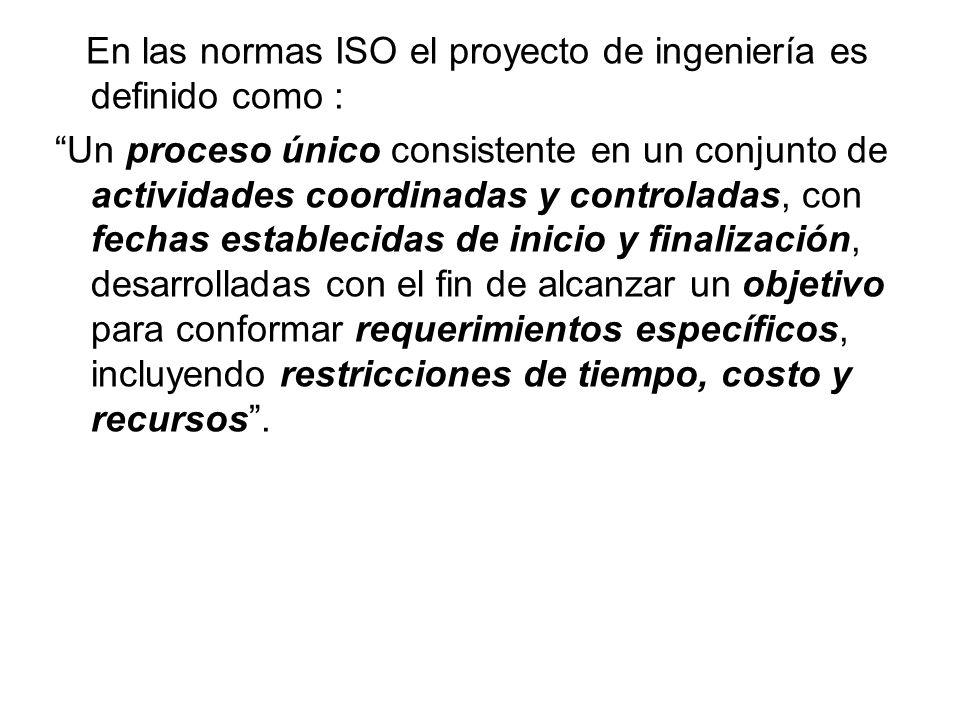 En las normas ISO el proyecto de ingeniería es definido como :