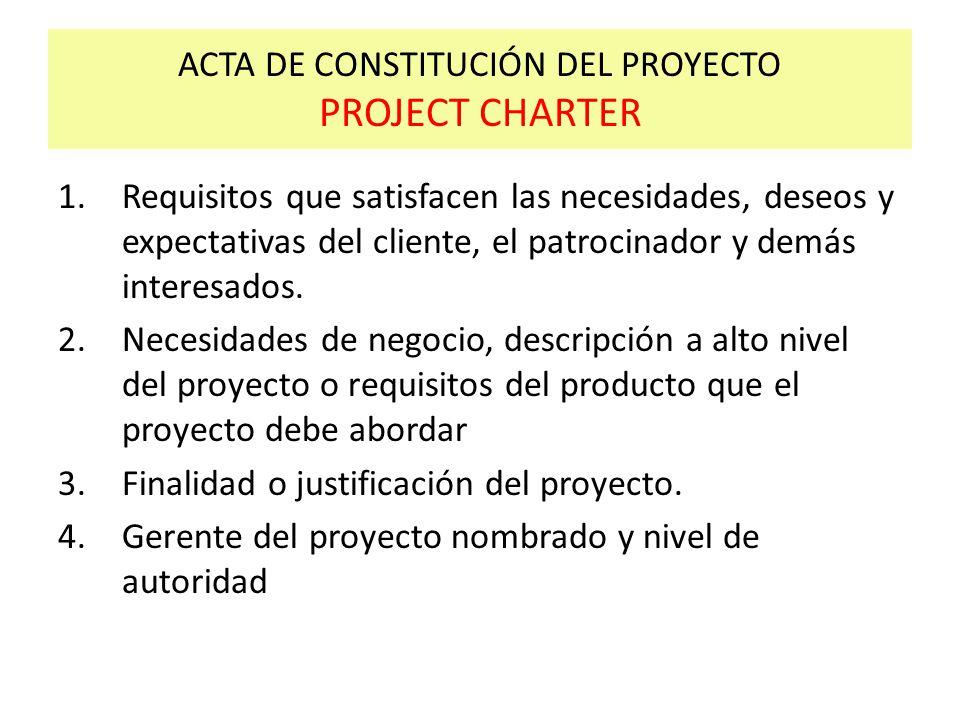 ACTA DE CONSTITUCIÓN DEL PROYECTO PROJECT CHARTER