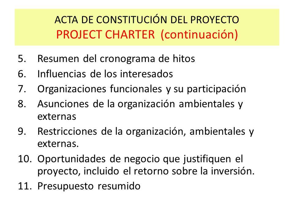 ACTA DE CONSTITUCIÓN DEL PROYECTO PROJECT CHARTER (continuación)
