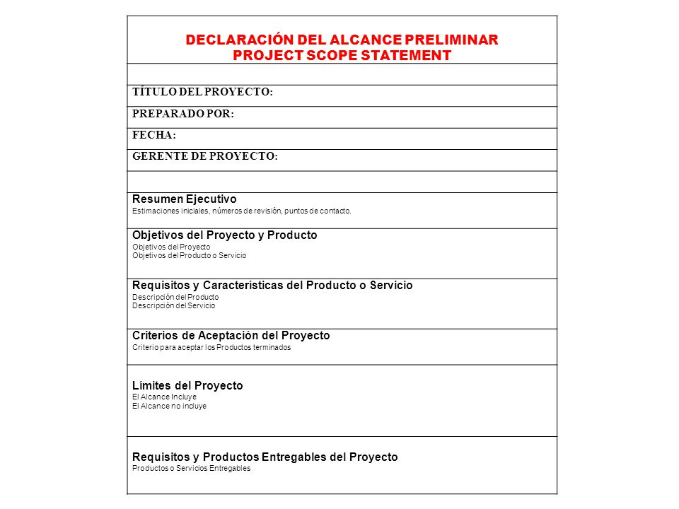 DECLARACIÓN DEL ALCANCE PRELIMINAR PROJECT SCOPE STATEMENT