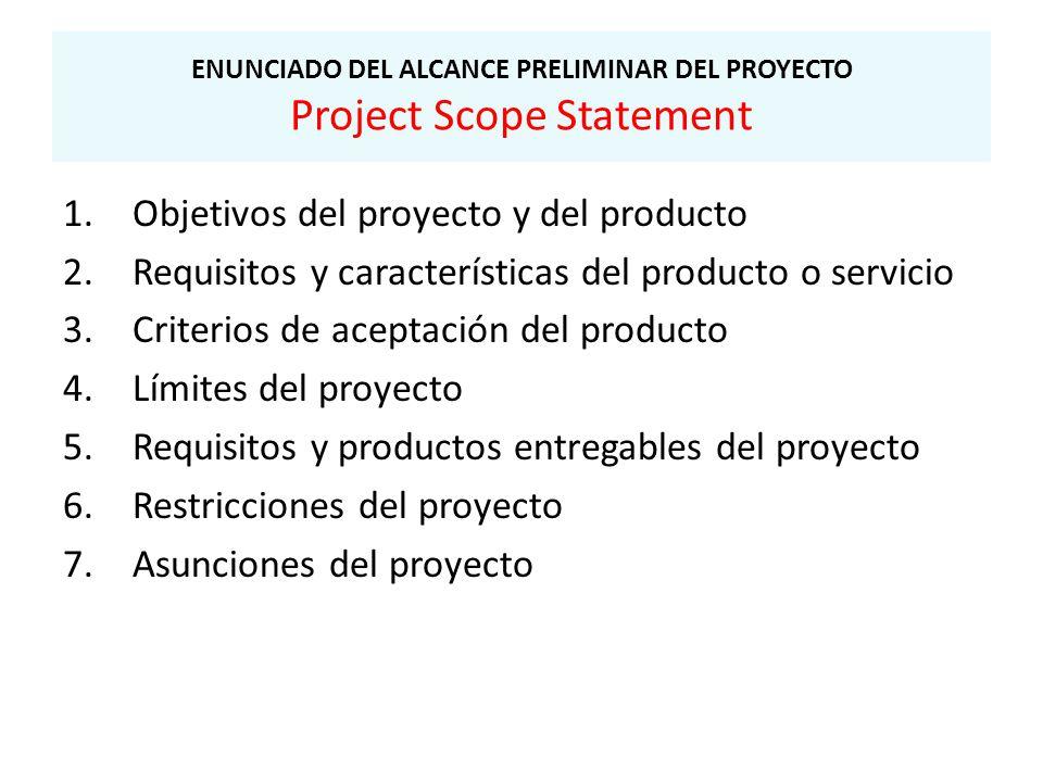 ENUNCIADO DEL ALCANCE PRELIMINAR DEL PROYECTO Project Scope Statement