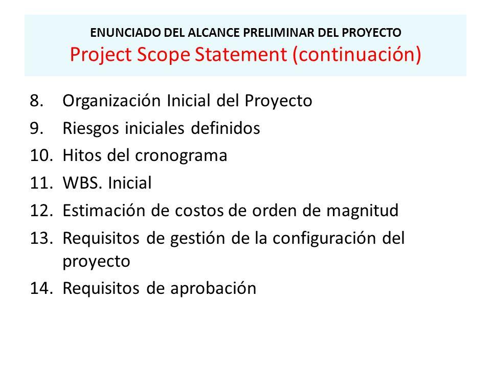 Organización Inicial del Proyecto Riesgos iniciales definidos