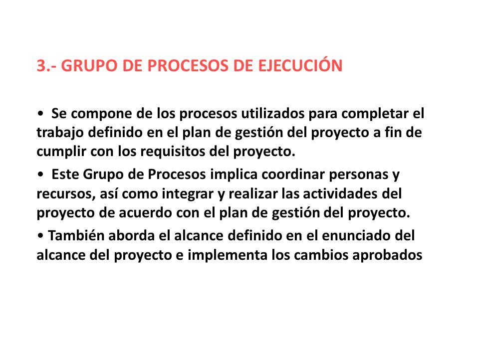 3.- GRUPO DE PROCESOS DE EJECUCIÓN