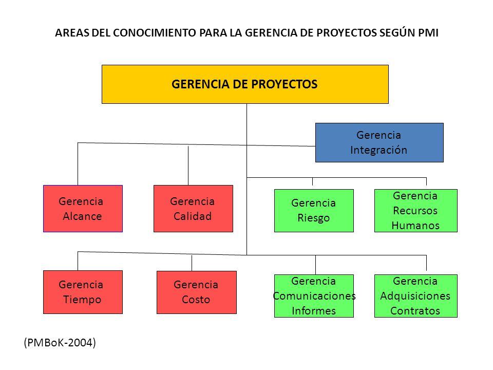 AREAS DEL CONOCIMIENTO PARA LA GERENCIA DE PROYECTOS SEGÚN PMI
