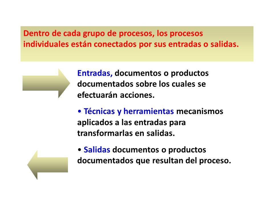 Dentro de cada grupo de procesos, los procesos individuales están conectados por sus entradas o salidas.