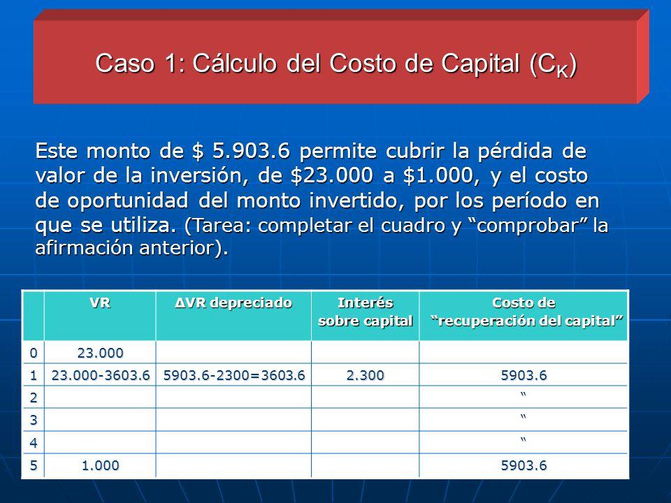 Caso 1: Cálculo del Costo de Capital (CK)