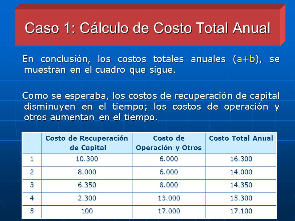 Caso 1: Cálculo de Costo Total Anual
