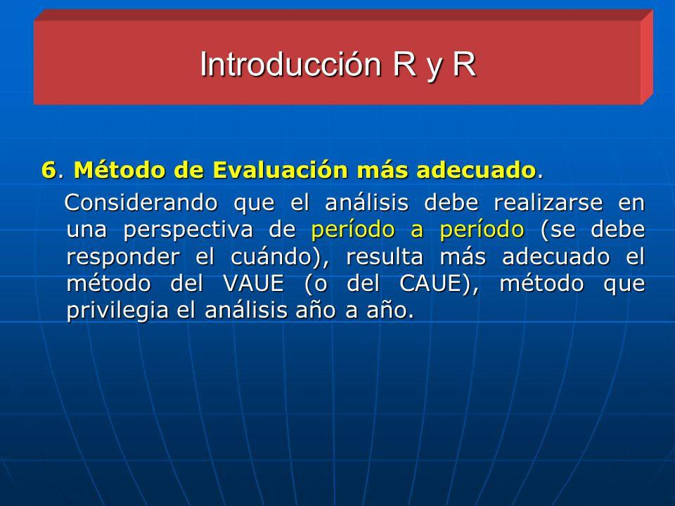 Introducción R y R 6. Método de Evaluación más adecuado.