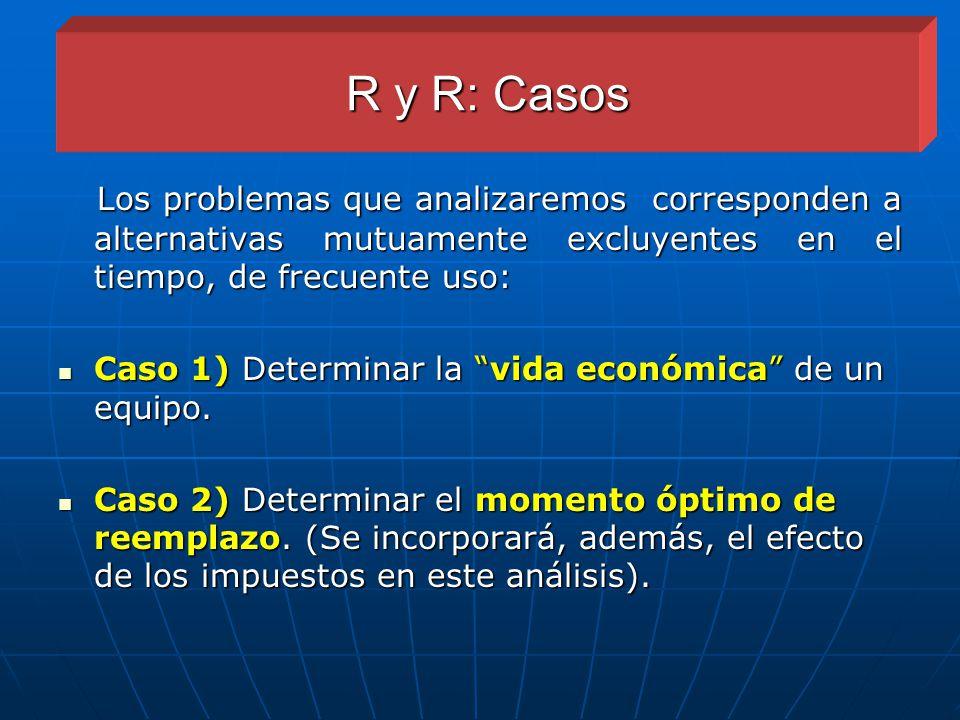 R y R: Casos Los problemas que analizaremos corresponden a alternativas mutuamente excluyentes en el tiempo, de frecuente uso: