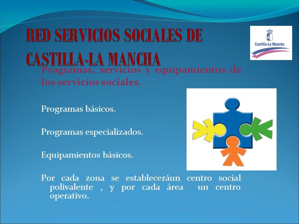 Programas, servicios y equipamientos de los servicios sociales.