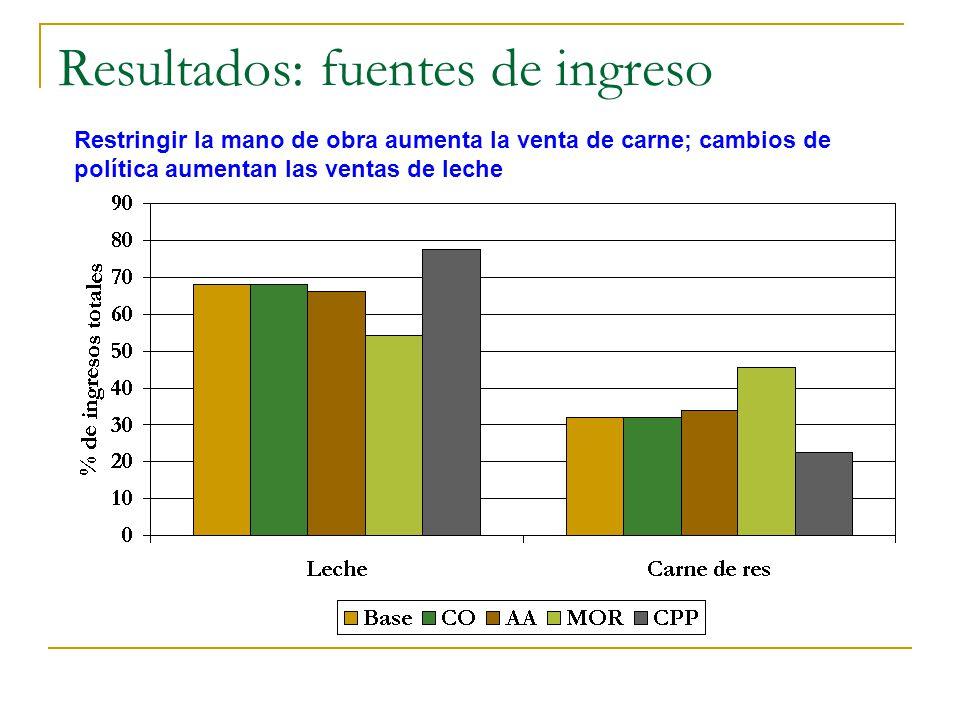 Resultados: fuentes de ingreso