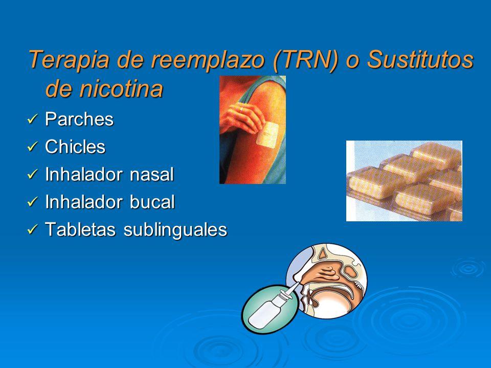 Terapia de reemplazo (TRN) o Sustitutos de nicotina