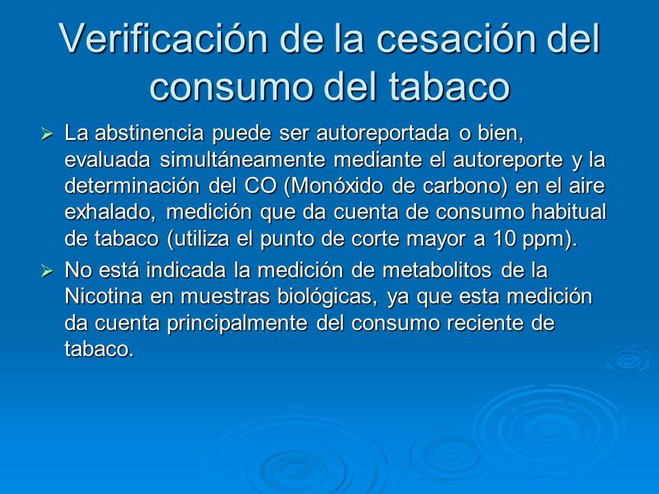 Verificación de la cesación del consumo del tabaco