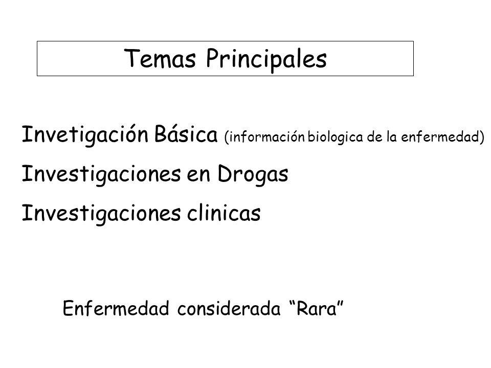 Temas Principales Invetigación Básica (información biologica de la enfermedad) Investigaciones en Drogas.