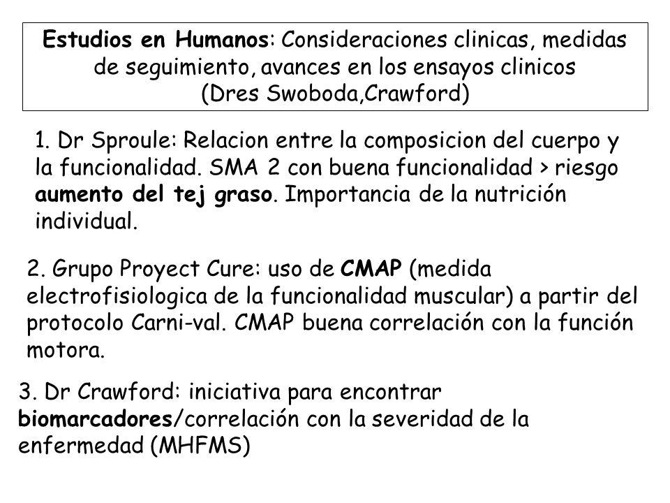 Estudios en Humanos: Consideraciones clinicas, medidas de seguimiento, avances en los ensayos clinicos (Dres Swoboda,Crawford)