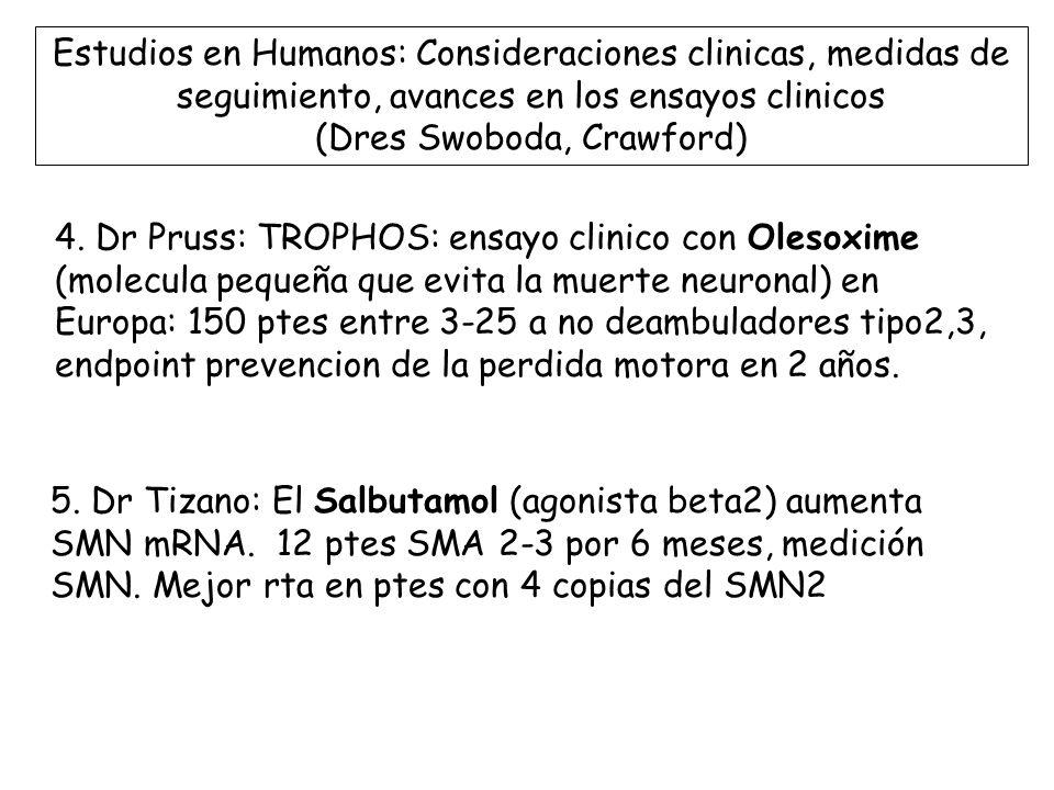 Estudios en Humanos: Consideraciones clinicas, medidas de seguimiento, avances en los ensayos clinicos (Dres Swoboda, Crawford)