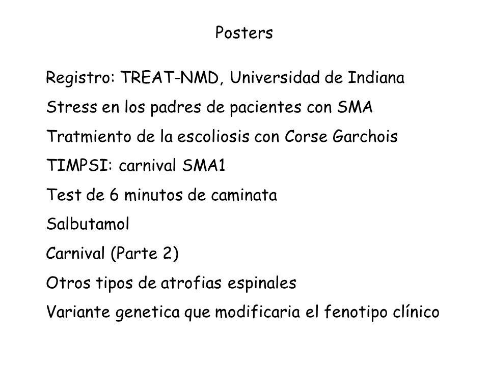 Posters Registro: TREAT-NMD, Universidad de Indiana. Stress en los padres de pacientes con SMA. Tratmiento de la escoliosis con Corse Garchois.
