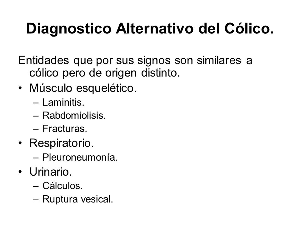 Diagnostico Alternativo del Cólico.