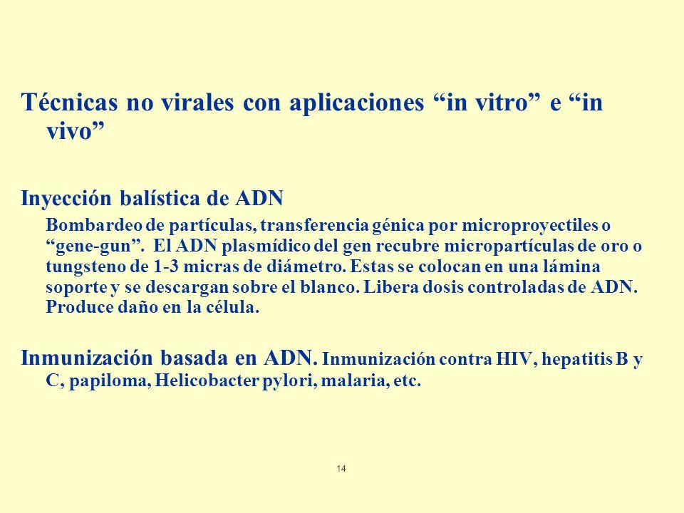 Técnicas no virales con aplicaciones in vitro e in vivo
