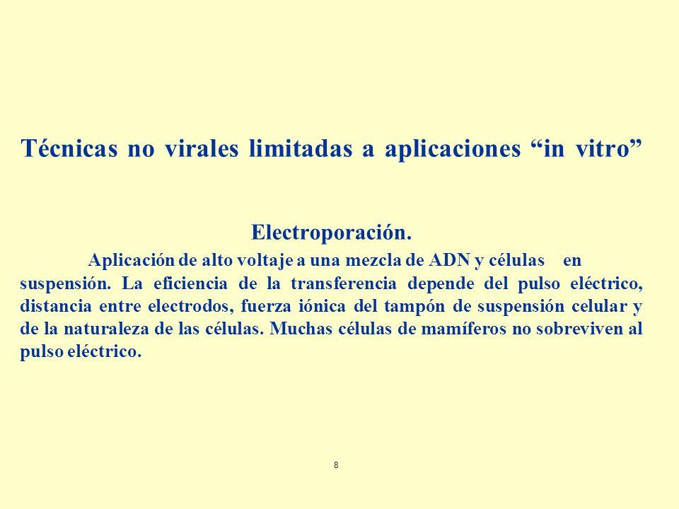 Técnicas no virales limitadas a aplicaciones in vitro Electroporación.