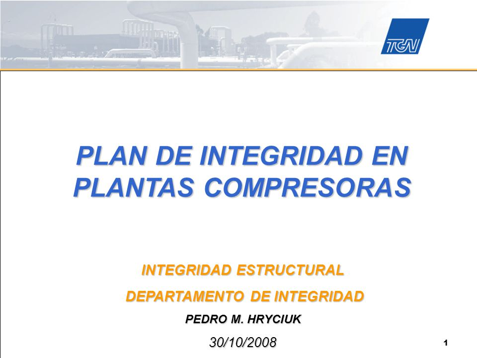PLAN DE INTEGRIDAD EN PLANTAS COMPRESORAS