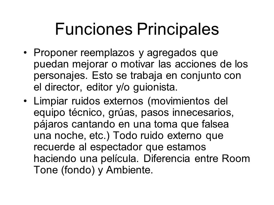 Funciones Principales