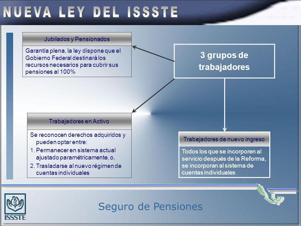 Seguro de Pensiones 3 grupos de trabajadores Jubilados y Pensionados