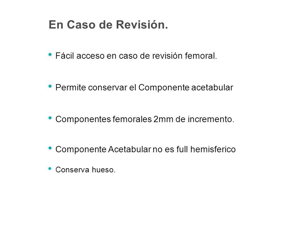 En Caso de Revisión. Fácil acceso en caso de revisión femoral.