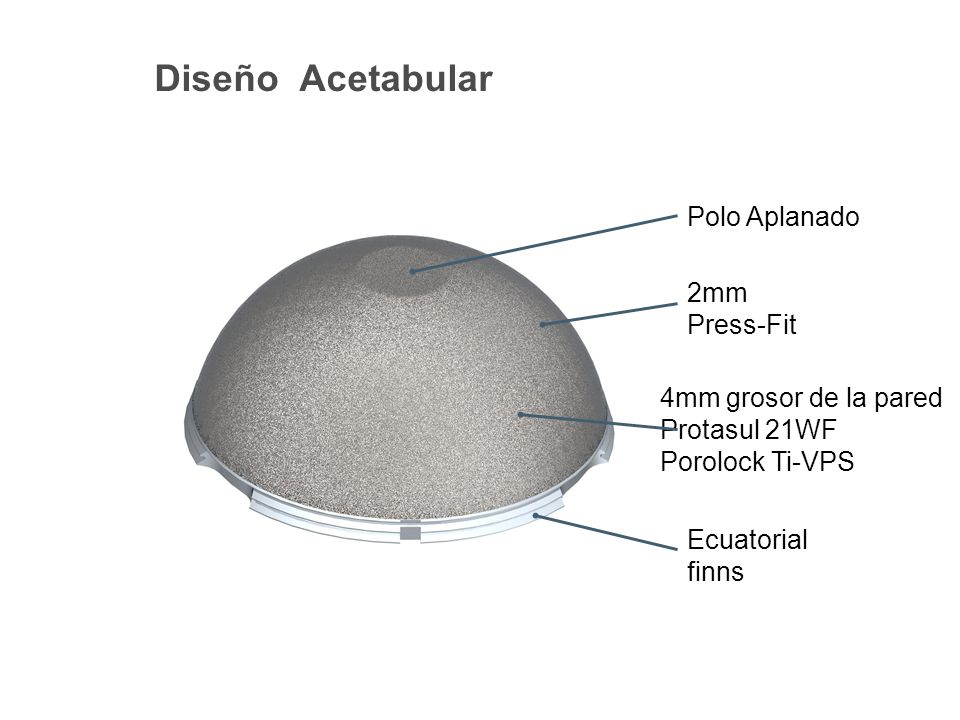 Diseño Acetabular Polo Aplanado 2mm Press-Fit 4mm grosor de la pared