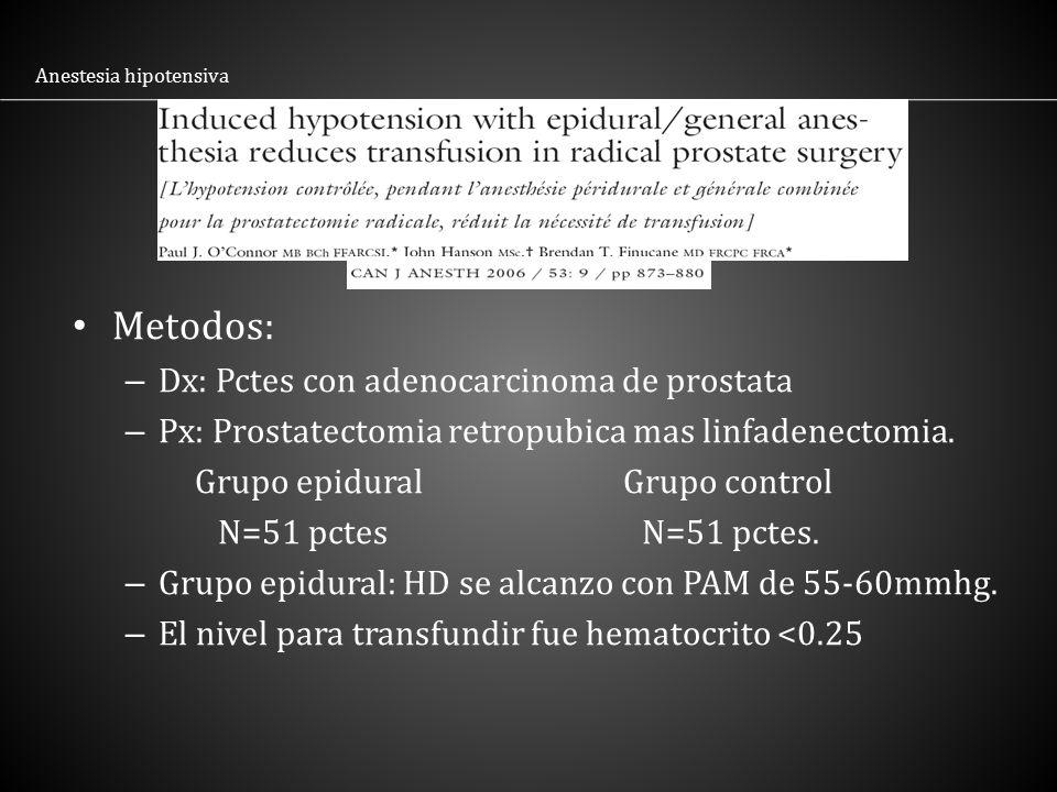 Metodos: Dx: Pctes con adenocarcinoma de prostata