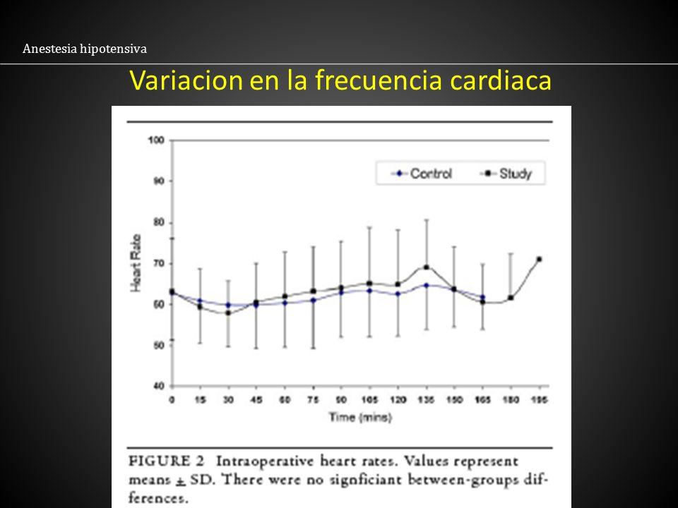 Variacion en la frecuencia cardiaca