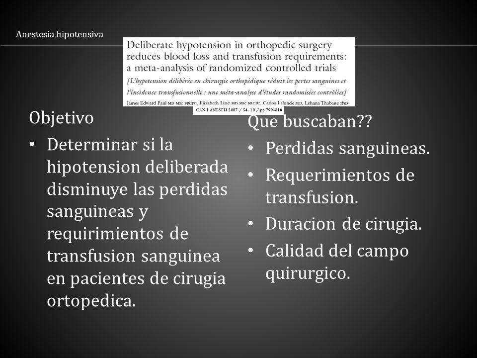 Requerimientos de transfusion. Duracion de cirugia.