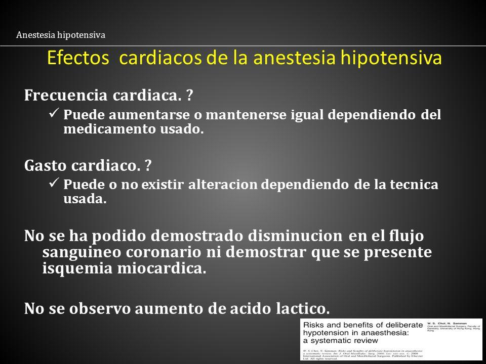 Efectos cardiacos de la anestesia hipotensiva
