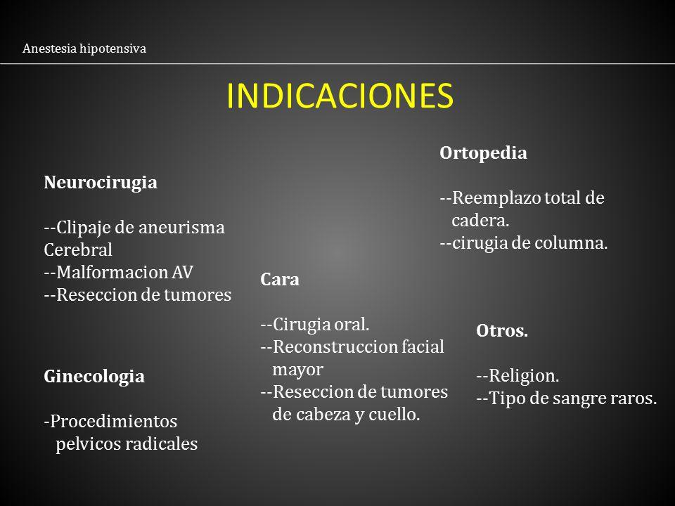 INDICACIONES Ortopedia --Reemplazo total de Neurocirugia cadera.