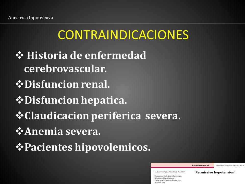 CONTRAINDICACIONES Historia de enfermedad cerebrovascular.
