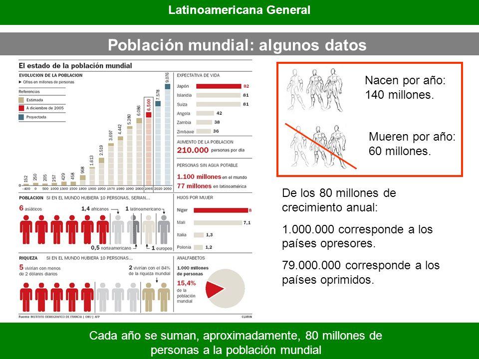 Latinoamericana General Población mundial: algunos datos