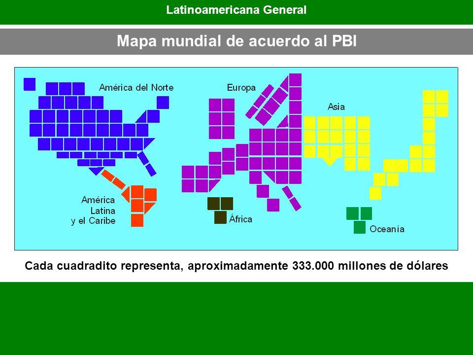 Latinoamericana General Mapa mundial de acuerdo al PBI
