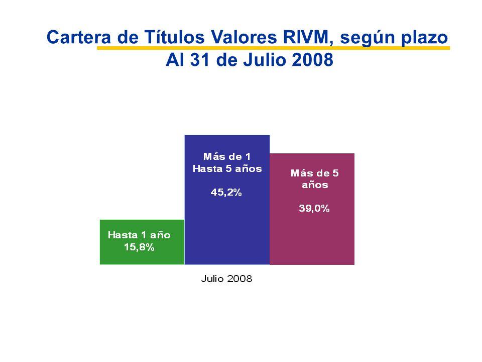 Cartera de Títulos Valores RIVM, según plazo Al 31 de Julio 2008