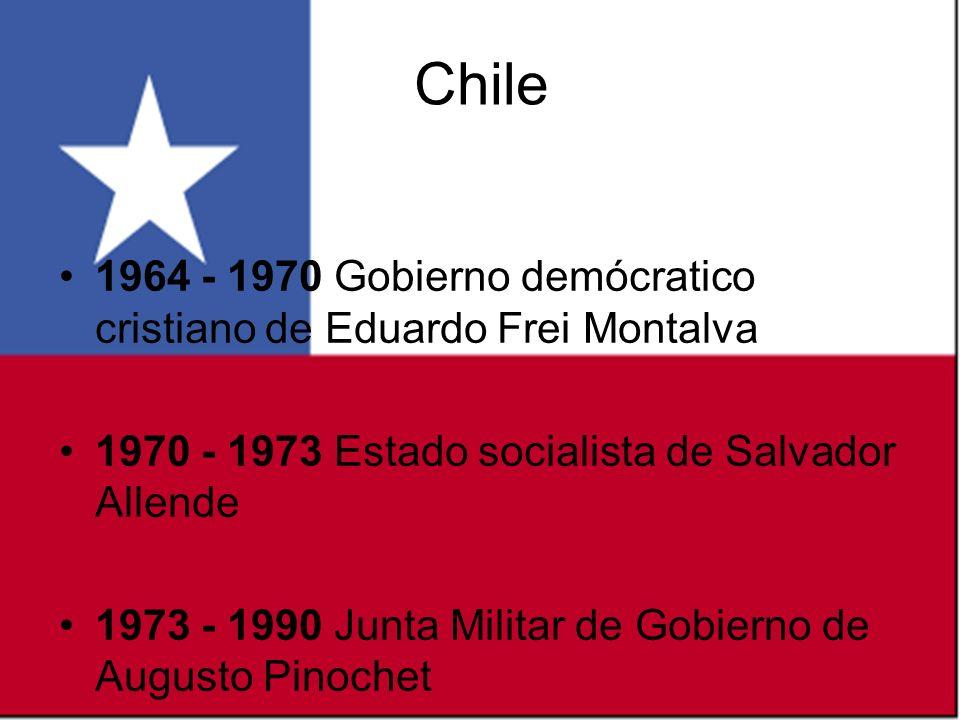 Chile 1964 - 1970 Gobierno demócratico cristiano de Eduardo Frei Montalva 1970 - 1973 Estado socialista de Salvador Allende.