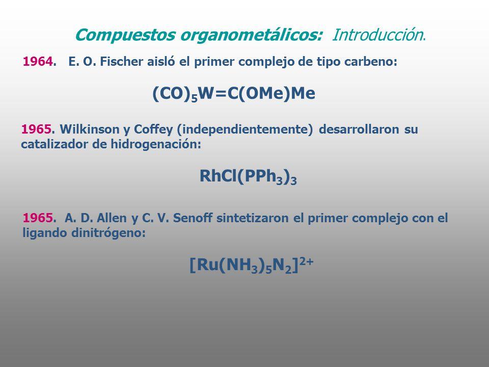 1964. E. O. Fischer aisló el primer complejo de tipo carbeno: