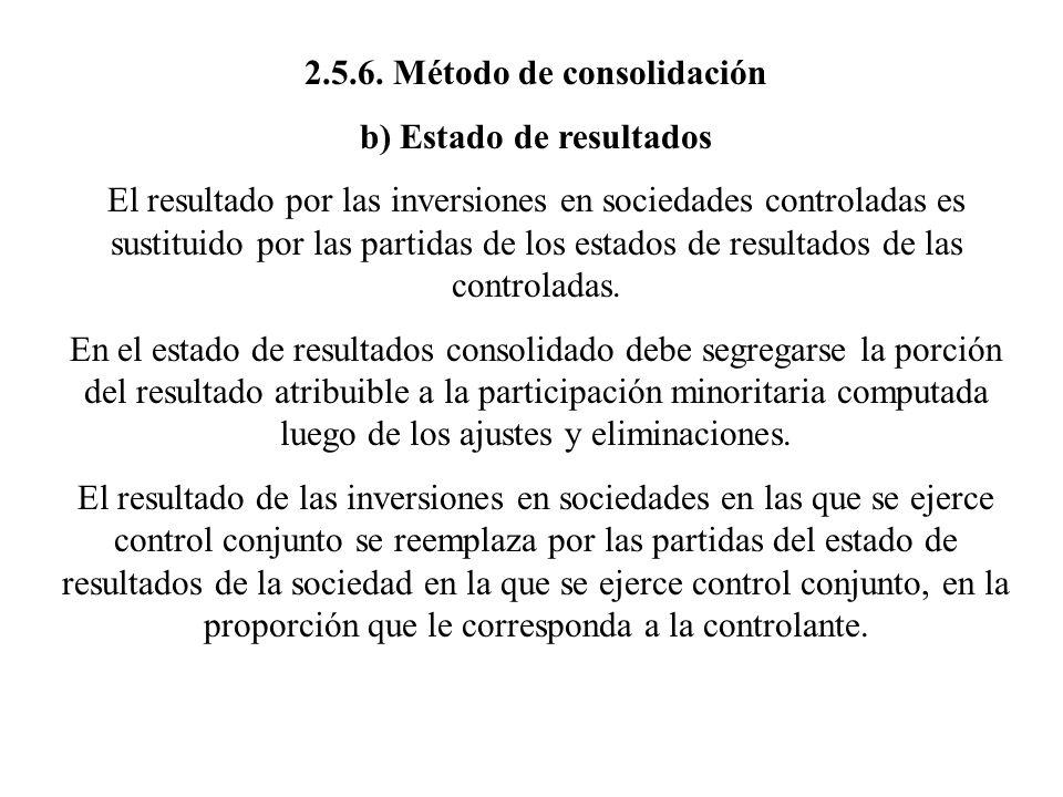 2.5.6. Método de consolidación b) Estado de resultados