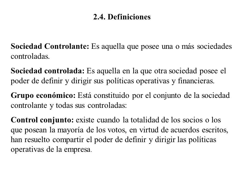 2.4. Definiciones Sociedad Controlante: Es aquella que posee una o más sociedades controladas.