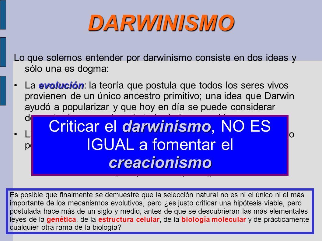 Criticar el darwinismo, NO ES IGUAL a fomentar el creacionismo