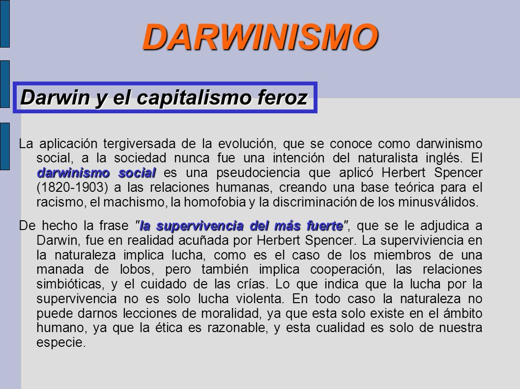 DARWINISMO Darwin y el capitalismo feroz