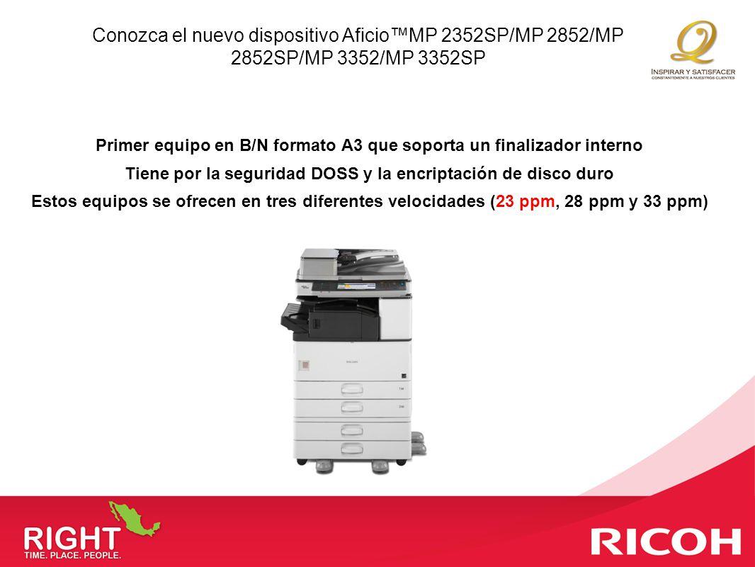 Conozca el nuevo dispositivo Aficio™MP 2352SP/MP 2852/MP 2852SP/MP 3352/MP 3352SP
